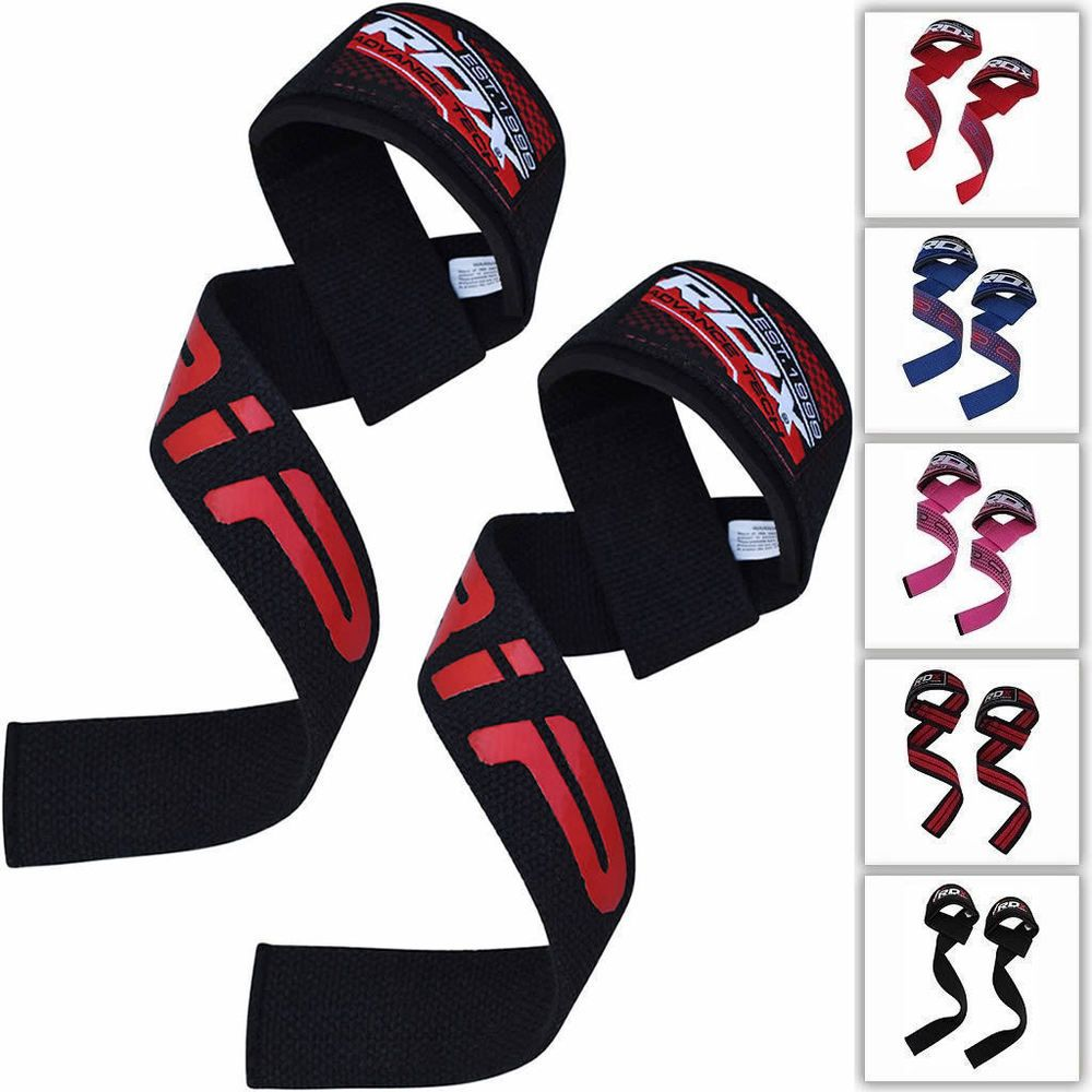 RDX Gym Hook Grips Weight Lifting Wrist Straps Gloves Support Training CA