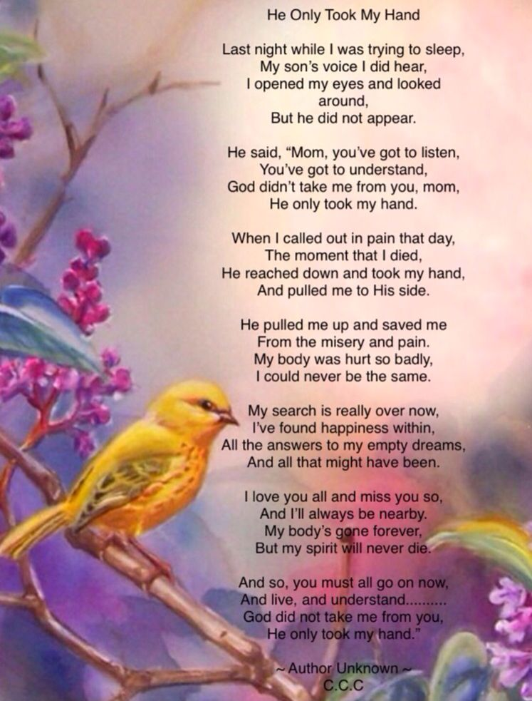 God Did Not Take Me From You Mom He Only Took My Hand And Now He Has You In His Arms And Thoug Bereavement Quotes Losing A Loved One