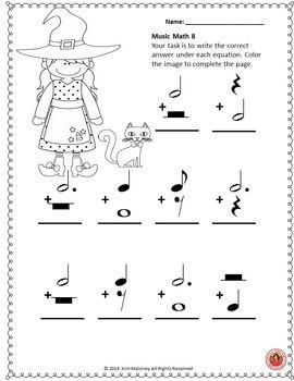 Halloween Music Activities: 24 Music Math Worksheets (com