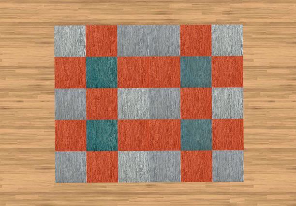 Blue Orange Gray Carpet Tiles Contemporary Rug Carpet