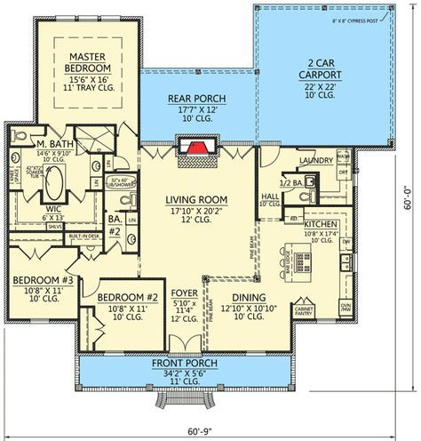 Plan SM Acadian House Plan With Pine Beam Accents
