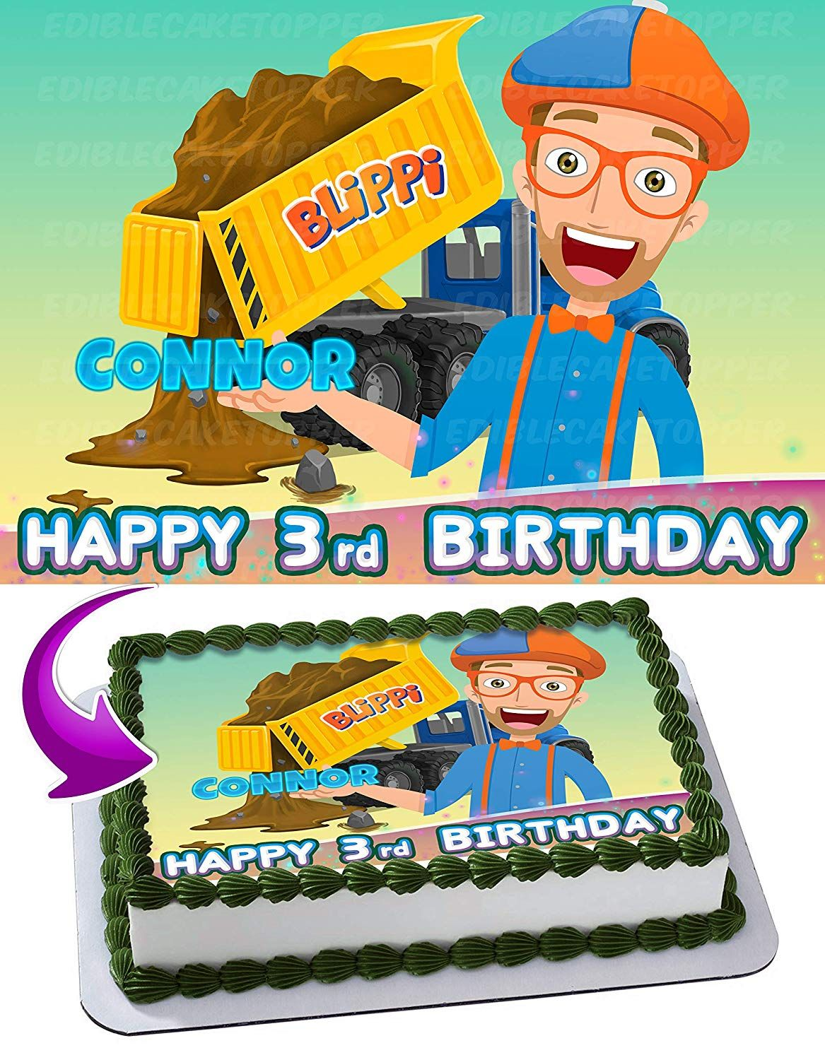 Blippi 2 Edible Image Cake Topper Personalized Bir