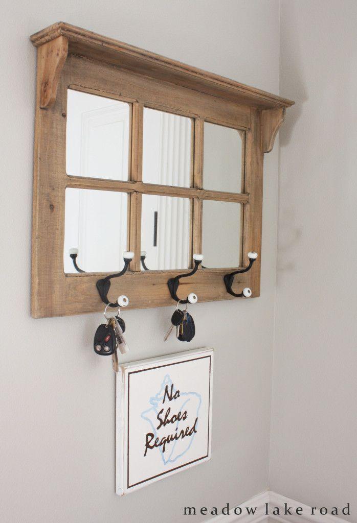 Entry Mirror With Key Hooks Jpg 698 1 024 Pixels Entryway Mirror With Hooks Mirror With Hooks Decor