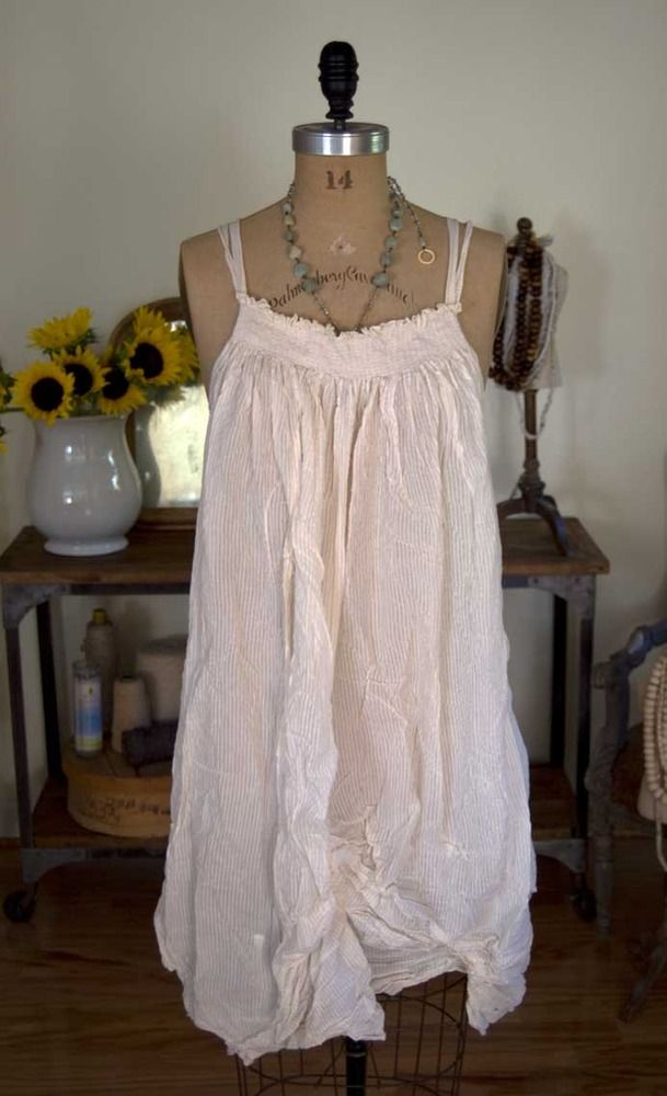 Magnolia Pearl Cotton Voile Fannie Slip with Shearing and Under Ties - Ivory Stripe  $248