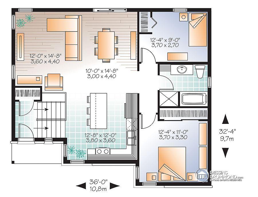 Détail du plan de Maison unifamiliale W3323-V3 Maison Pinterest
