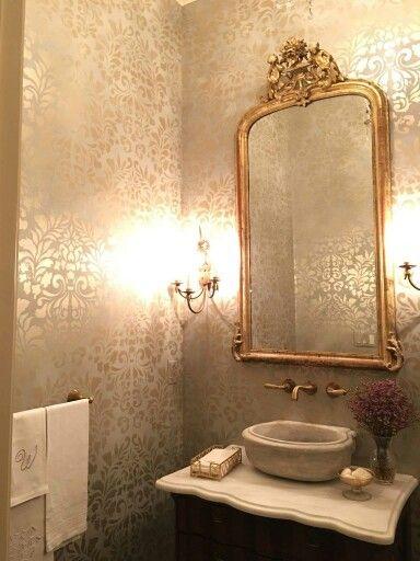 Gold Bathroom The Loo Pinterest Gold Bathroom Bath And Powder - Gold bathroom paint