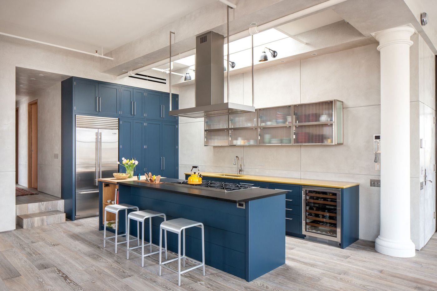 Royal Blue Kitchen On Light Color Floors Is A Modern Contemporary