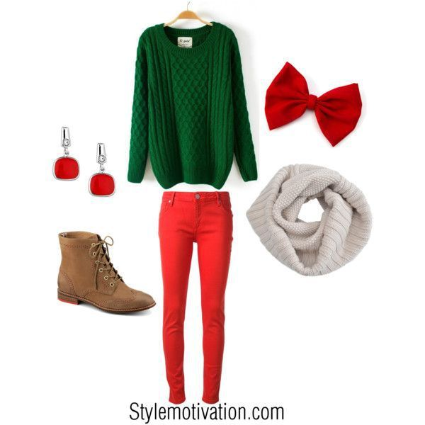 38 cute Christmas outfits for girls: Red and green Christmas outfit - 38 Cute Christmas Outfits For Girls Fashion & Style Pinterest