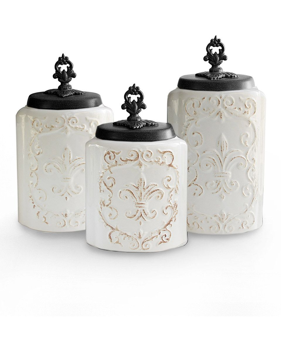 Look at this #zulilyfind! White Ornate Antiqued Canister Set by Jay Import #zulilyfinds