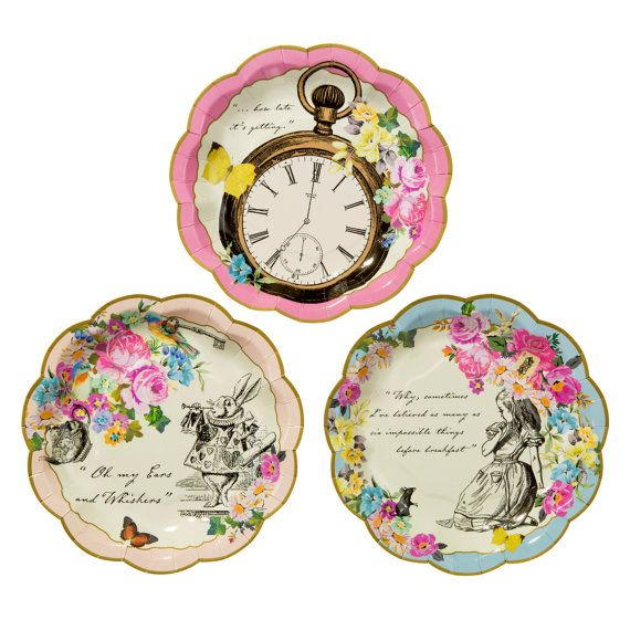 BACKORDER - Set of 12 Alice in Wonderland Vintage Style Dainty Cake Party Plates, Cocktail Plates for Tea Party, Bridal Shower, Baby Shower