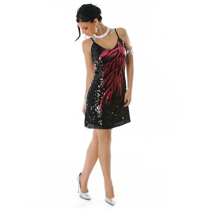 Glamouröses pink-schwarzes #Paillettenkleid, Rundhals Ausschnitt.
