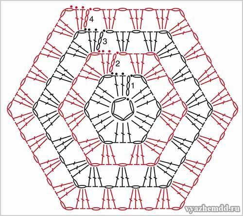 схема вязания шестиугольника Crochet Diagrams かぎ針編み 編み物