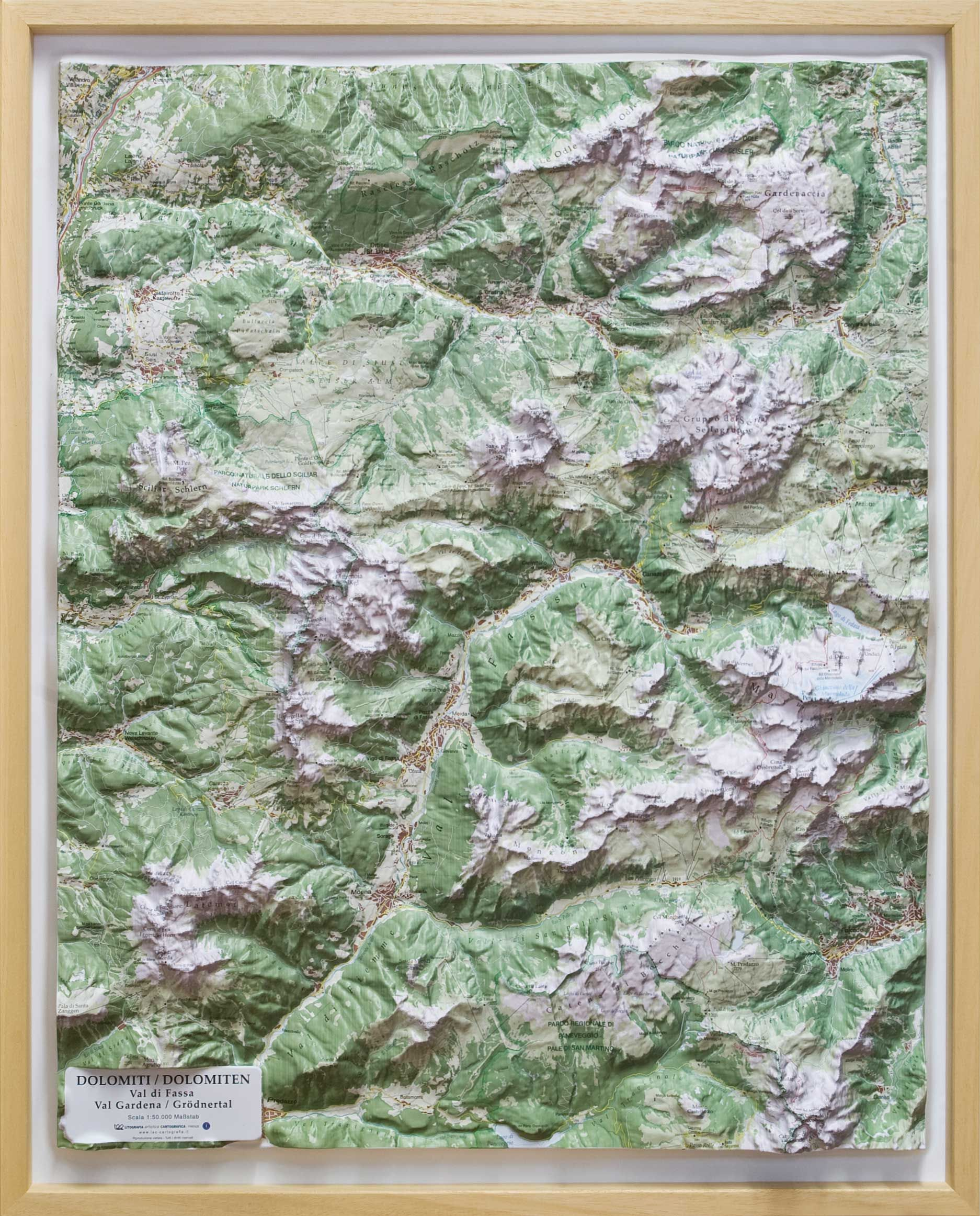 Raised Relief Map of Dolomites Val di Fassa and Gardena Maps