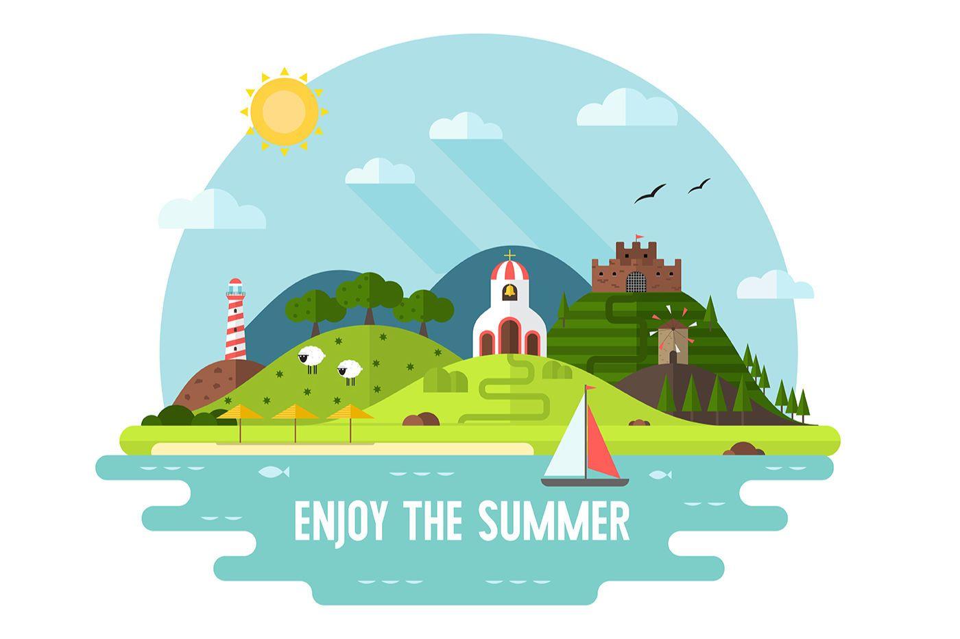 Summer Island Travel Flat Landscapes By Kruglivector