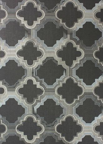 Quatrefoil wallpaper from Osborne and Little - W6586-03 - Cacao/ Gilver