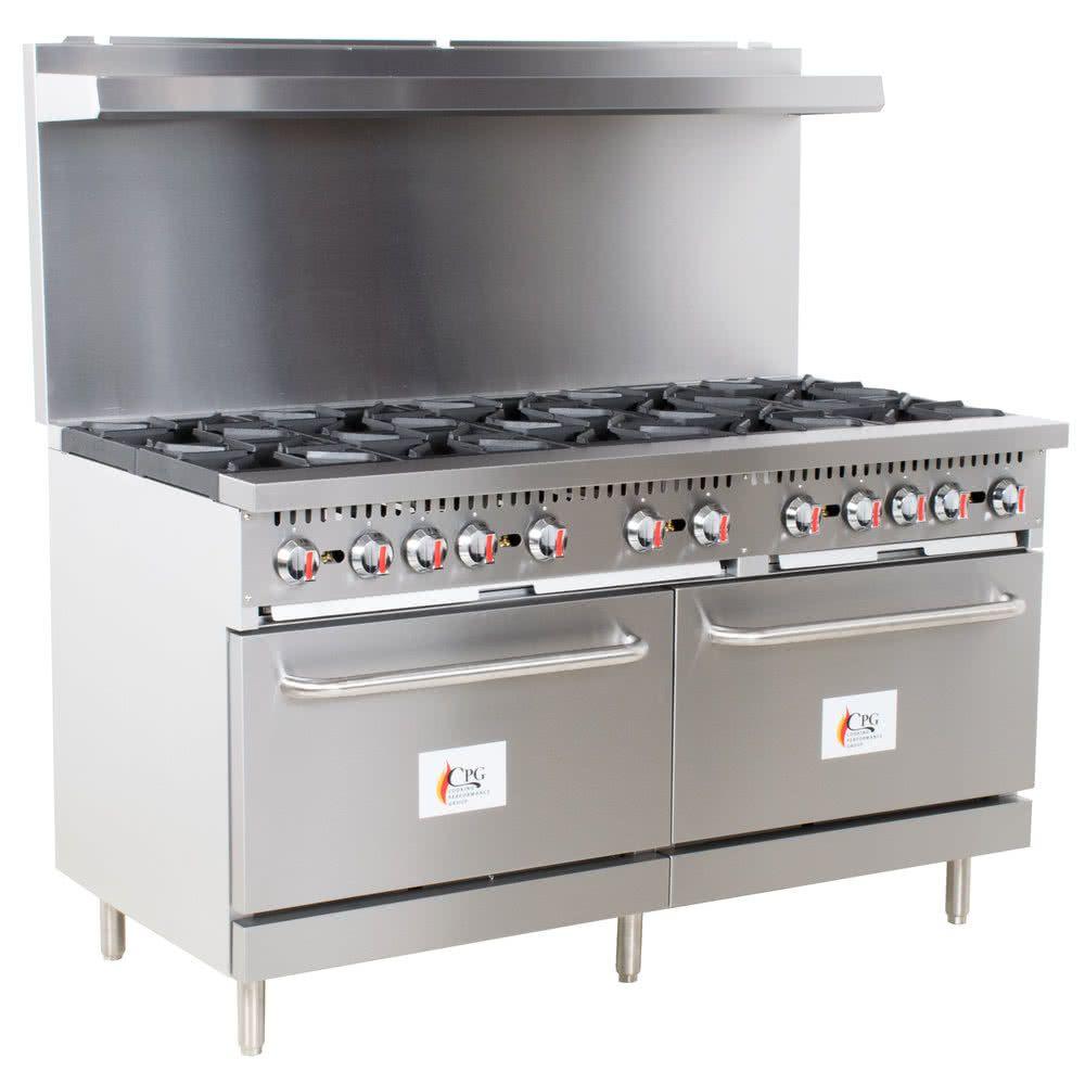 Cooking Performance Group S60 N Natural Gas 10 Burner 60 Range With 2 Standard Ovens 360 000 Btu Gas Cooker Burners Griddles