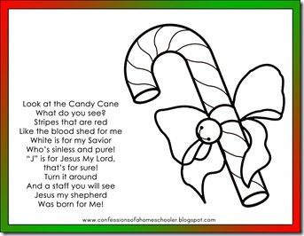 Candy Cane Poem and coloring page Read the cute poem about Jesus
