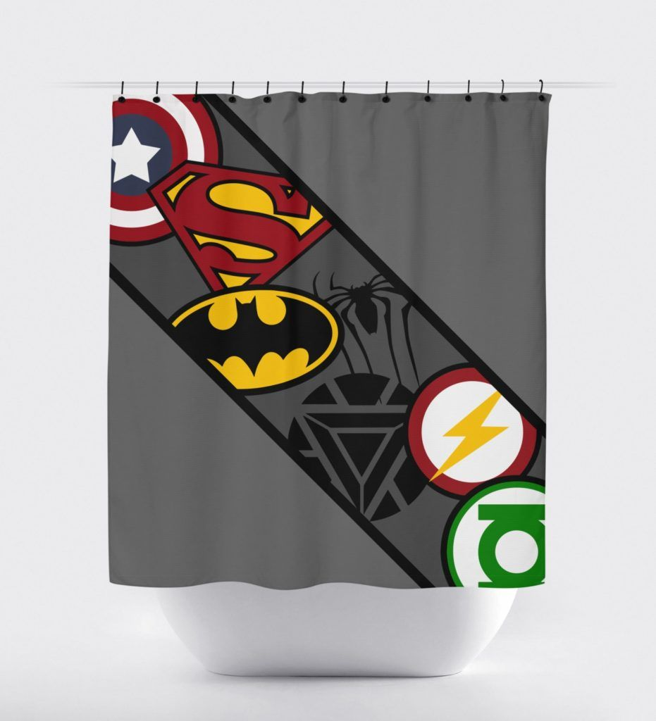 Boy bathroom shower curtains - Dc Superhero Shower Curtain