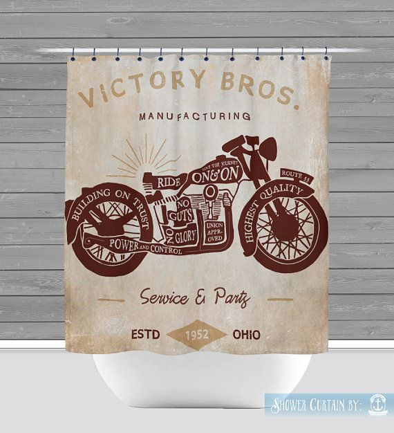 Http Www Modelhomekitchens Com Category Shower Curtain Motorcycle Shower Curtain Man Cave Industrial By Brandifitzgerald Shower