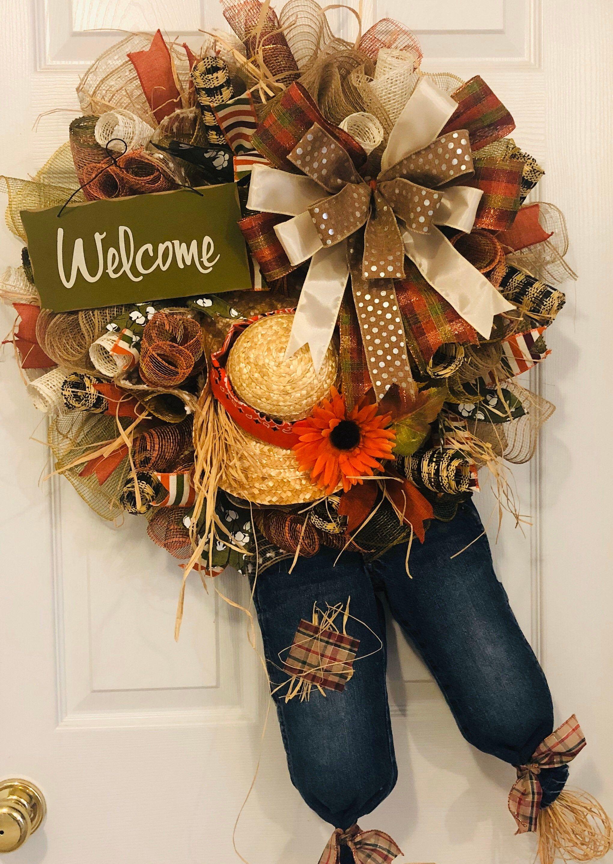 Fall wreath Fall ribbon wreath Scarecrow wreath Fall scarecrow wreath