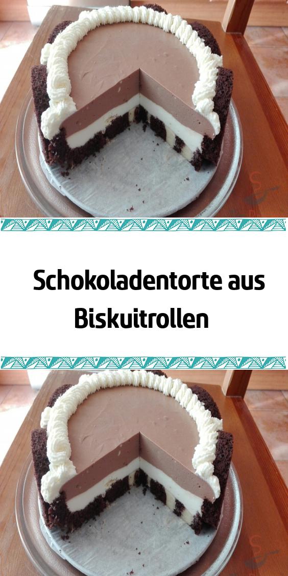 Schokoladentorte aus Biskuitrollen – Essen und Trinken