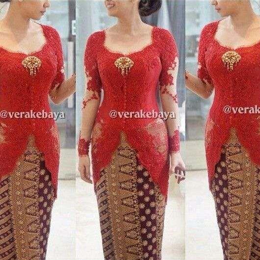 Vera Kebaya Warna Merah Model Kebaya Modern Kebaya Vera Kebaya