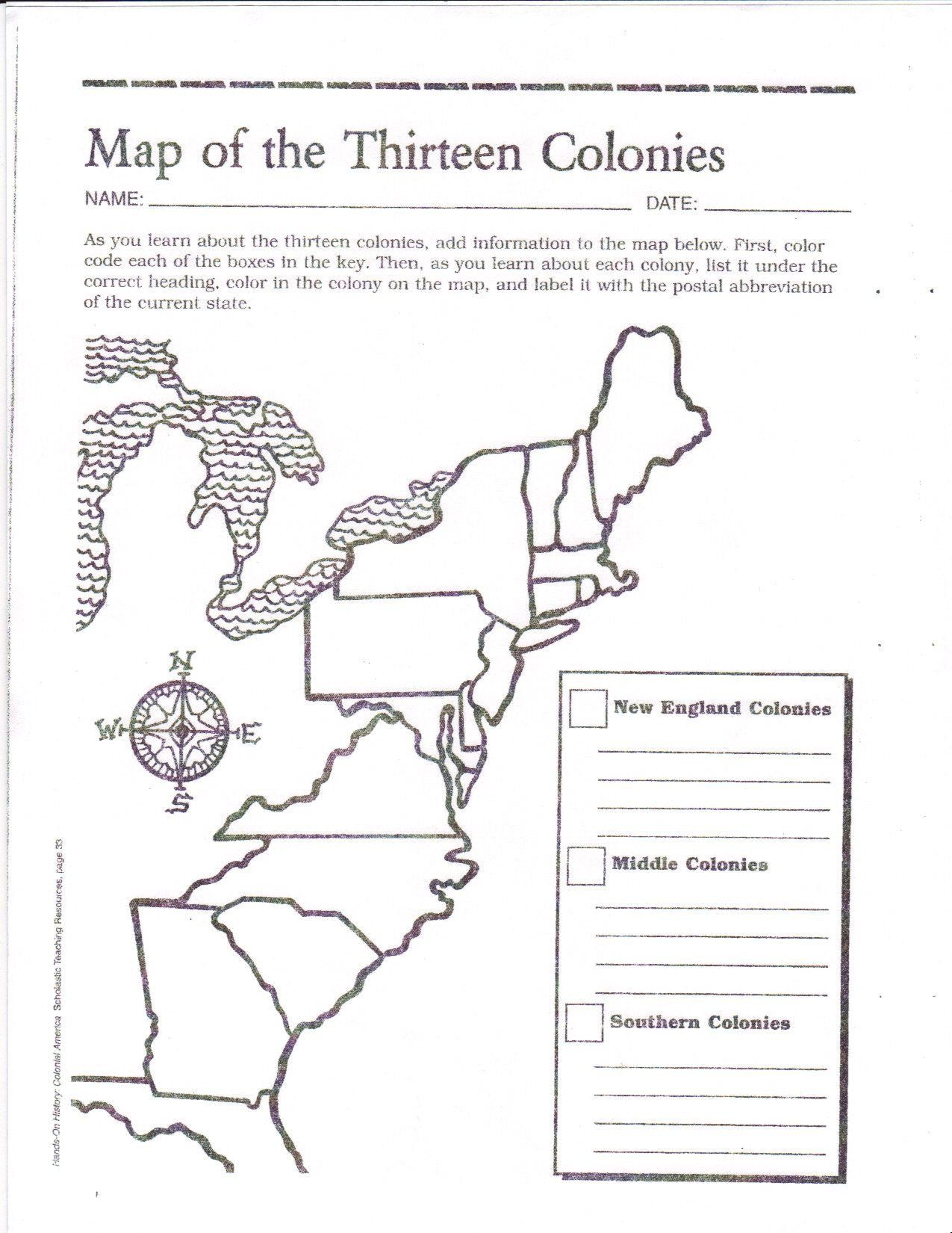 13 Colonies Worksheet Pdf Blank Map Of the 13 original Colonies Google  Search   Social studies worksheets [ 1650 x 1275 Pixel ]
