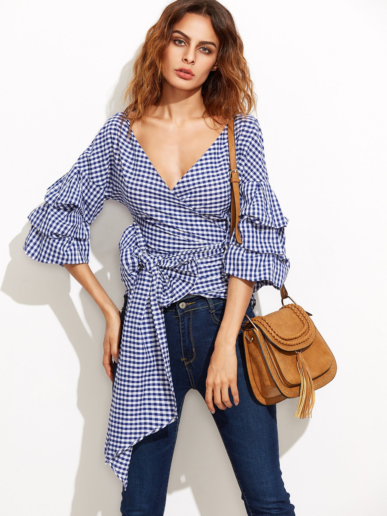 18cd11179d8c5 Shop Navy Gingham Billow Sleeve Surplice Wrap Blouse online. SheIn offers  Navy Gingham Billow Sleeve Surplice Wrap Blouse   more to fit your  fashionable ...