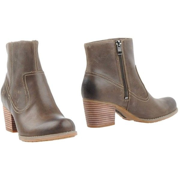 Timberland Ankle Boots (£86) ❤ liked on Polyvore featuring shoes, boots, ankle booties, khaki, lug sole boots, round toe ankle boots, leather ankle boots, bootie boots and leather boots