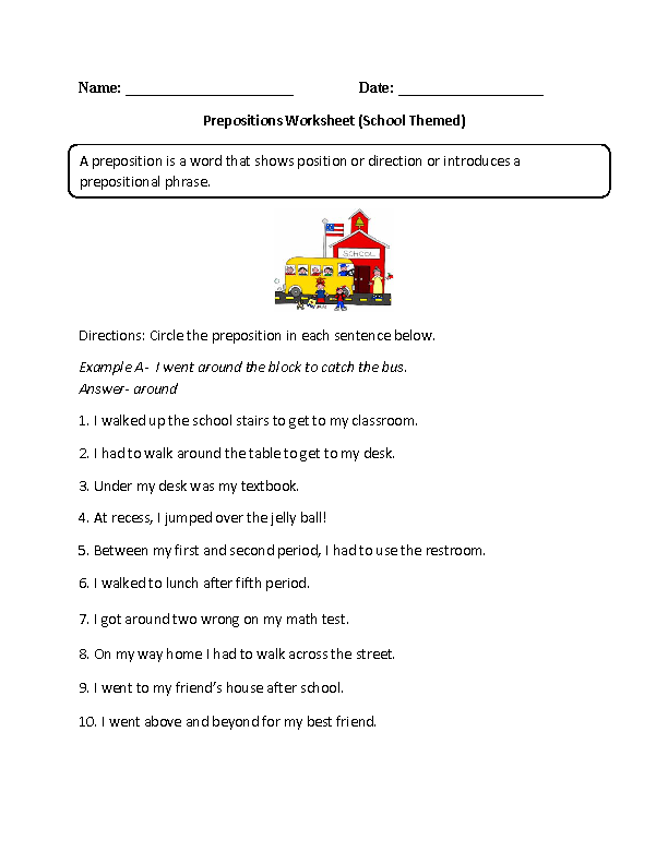 englishlinx Prepositions Worksheets – Theme Worksheets Middle School