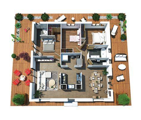 Couleurs Villa vous propose la Villa Dona, moderne, contemporaine - logiciel pour faire plan de maison