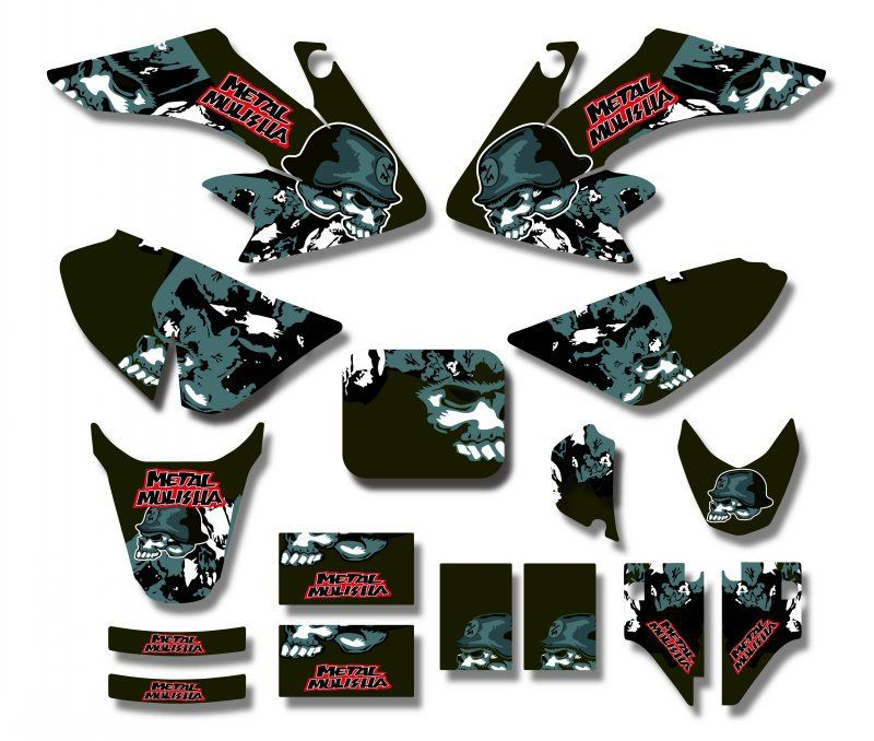 Metal skull TEAM GRAPHICS&BACKGROUNDS DECAL STICKERS Kits