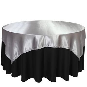 72 X 72 Satin Silver Table Topper Overlay Wedding Ideas