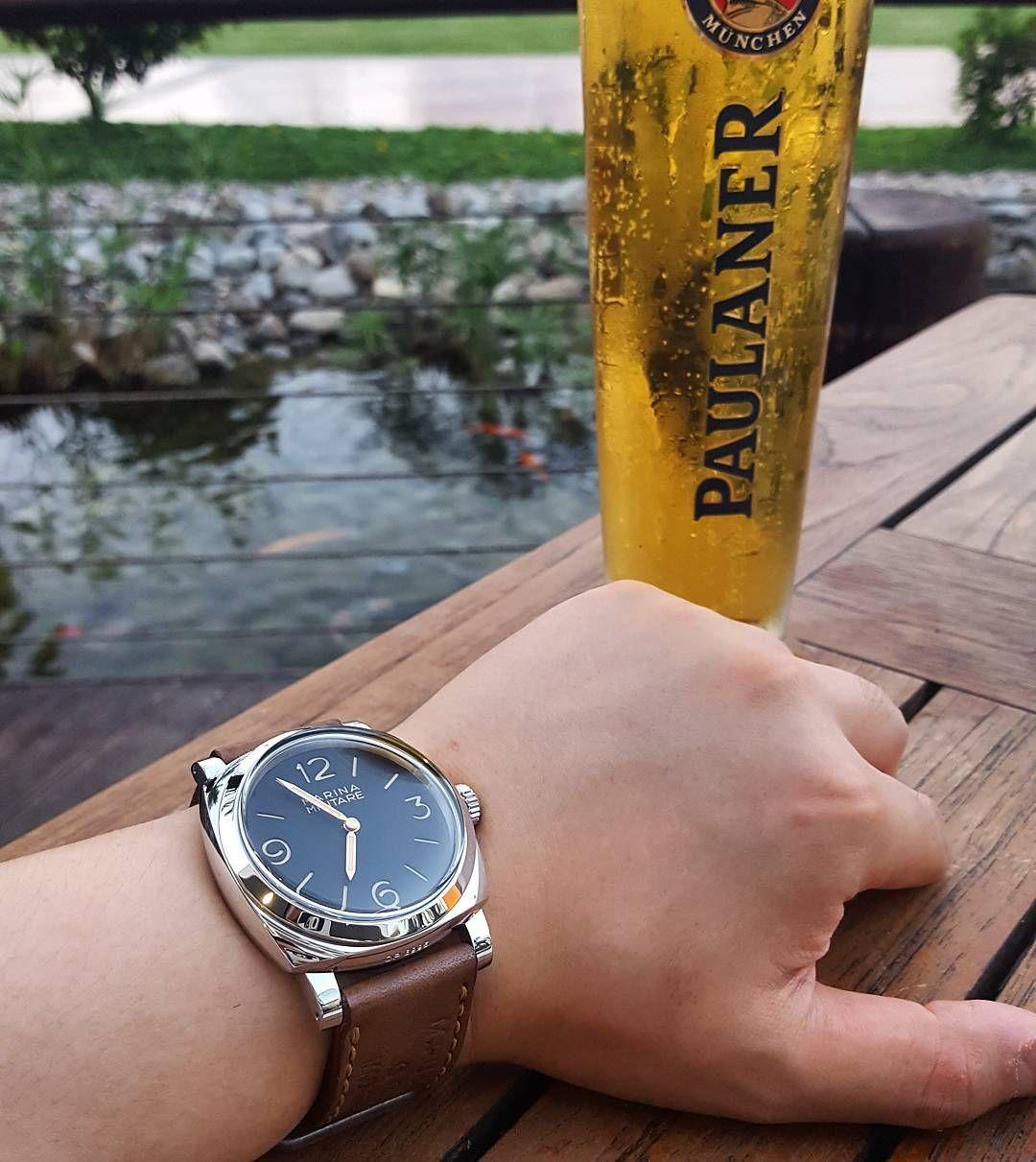 Chillin at my favourite place #pam587 #wristshot #watchpics #watchaddict #watchstraps #wruw #wis #womw #wotd #radiomir #koi #유유자적 #천하태평 #맥주스타그램 #파울라너 #데일리그램 by seanswy www.womw.co