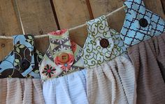 Little Yellow Barn: Hanging Dish Towels I need these so my dishtowels  don't end up all over the house!