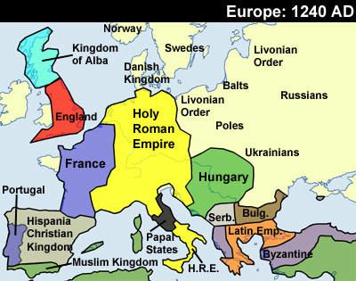 history map of Europe 1215AD  ArchaeologyPaleoanthropology