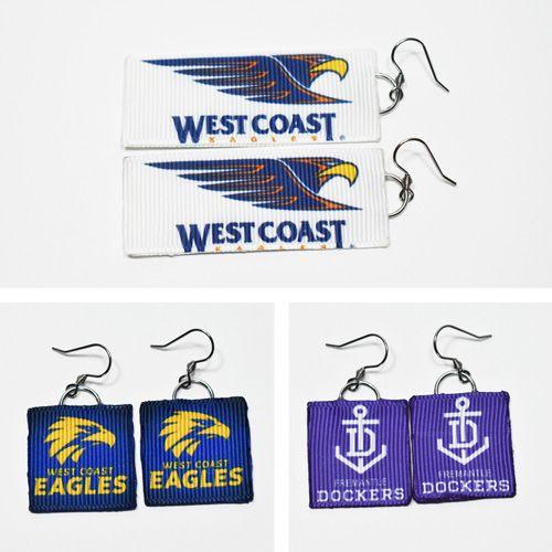 Handmade Aussie rules football ribbon earrings with