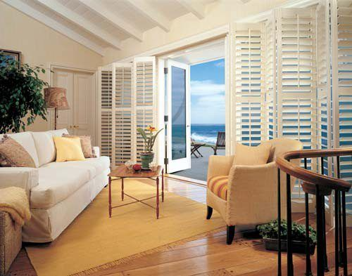 Bi Fold Plantation Shutters Over Sliding Glass Doors