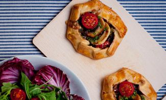 Mini Mushroom - Tomato Galettes with Roquefort and Walnuts