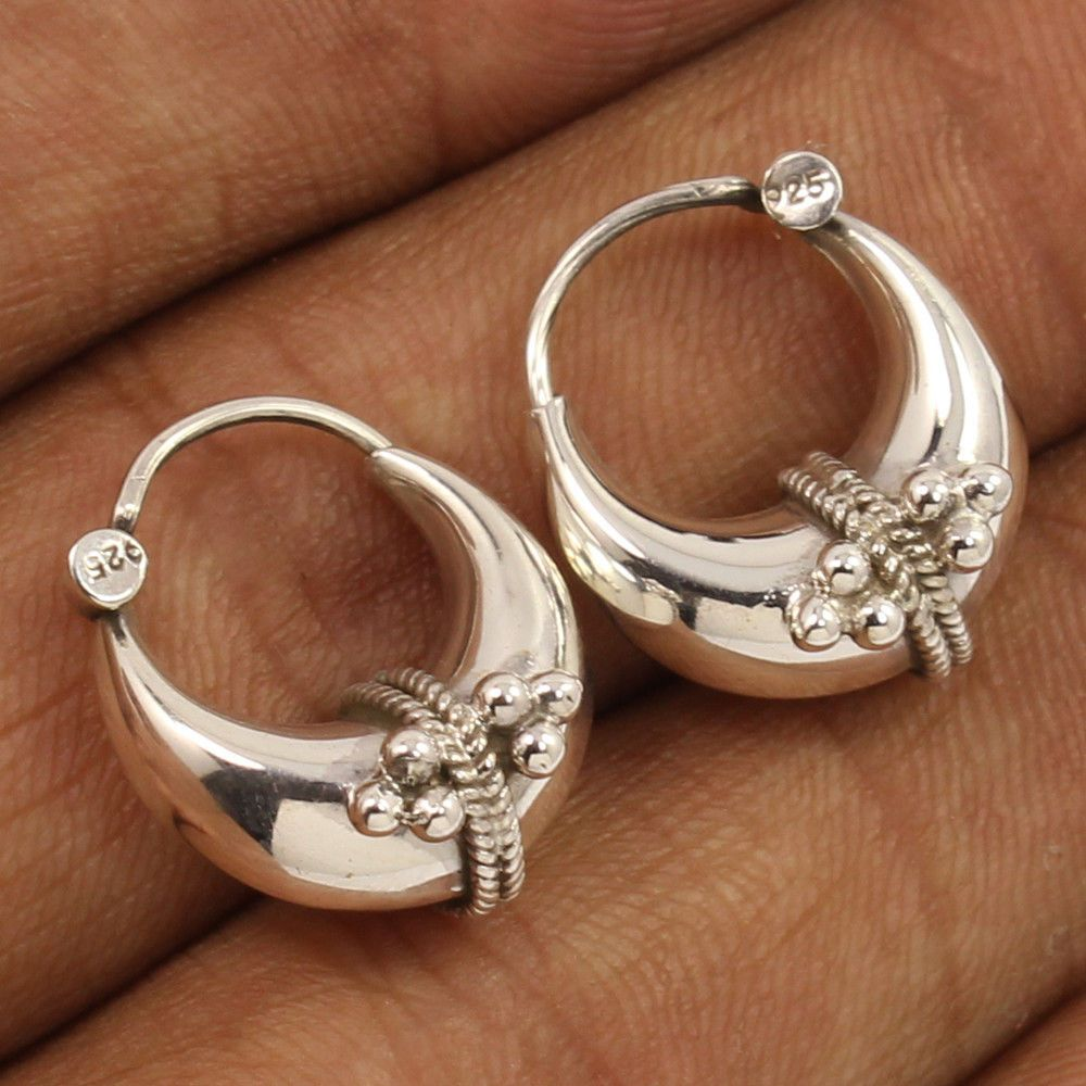 Wholesale Jewelry Bali Details About Plain No Stone Solid 925 Sterling Silver Hoop