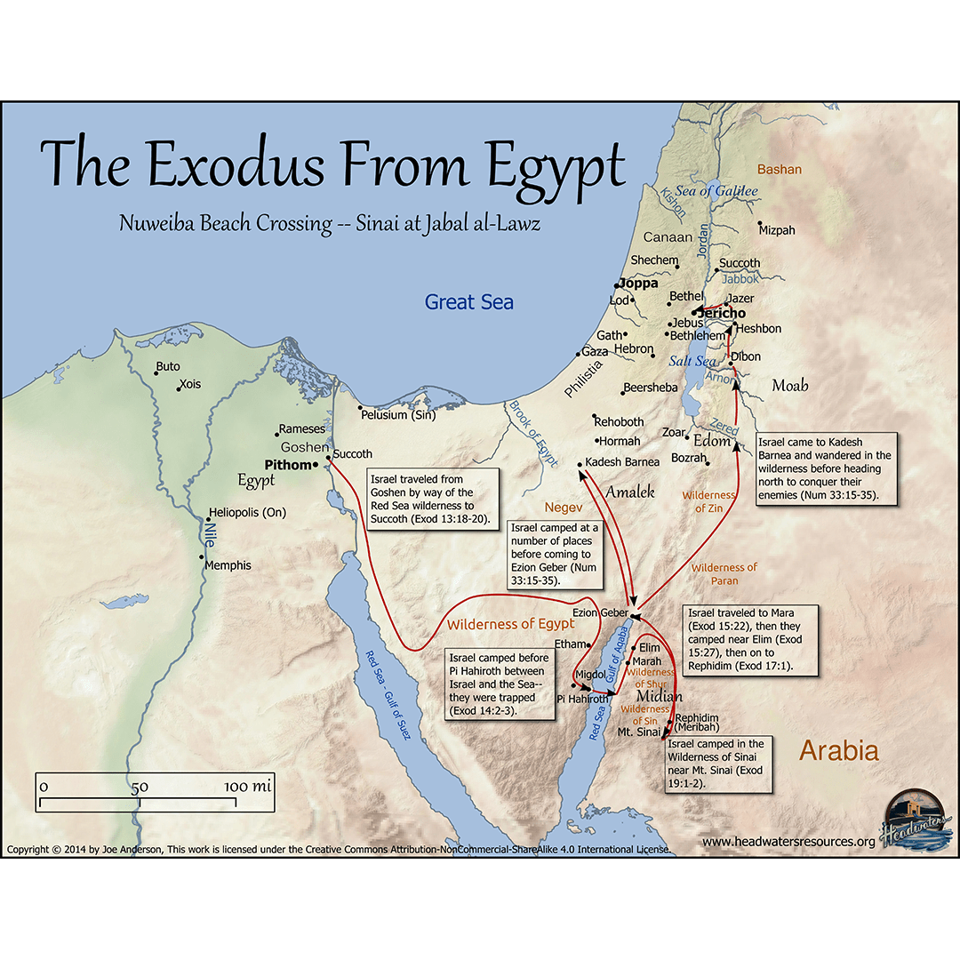 Exodus Route Map Bible mapping, Bible, Bible knowledge