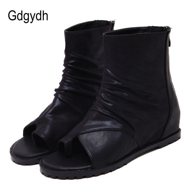 4ffce1b2913 Gdgydh ботильоны для Для женщин Черная женская обувь 2018 Новый  Демисезонный с открытым носком Туфли
