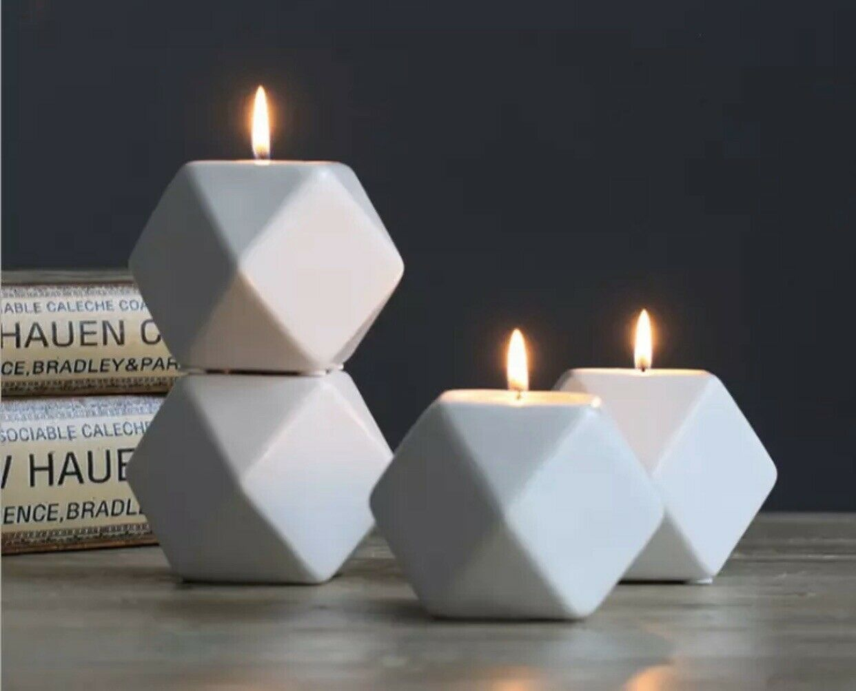 Geometric cermaic candle holder pink grey blue or