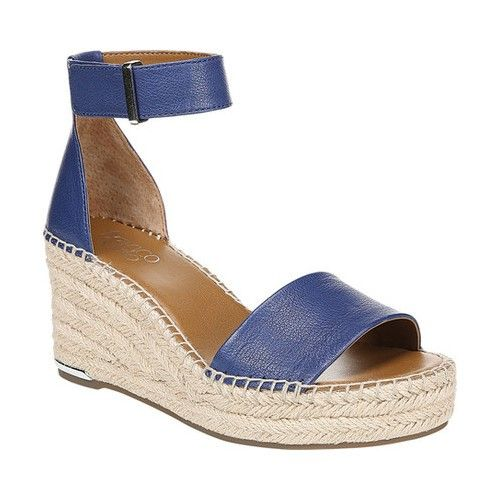 bf31f956cf Franco Sarto Women's Clemens Ankle Strap Wedge Sandal, Size: 7, Cobalt  Light Leather