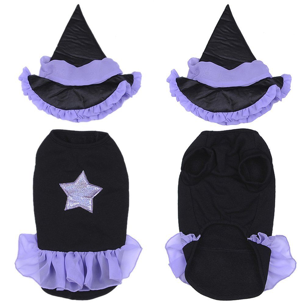Yunt Funny Puppy Dog Cats Halloween Clothes Witch Dress Costumes ...