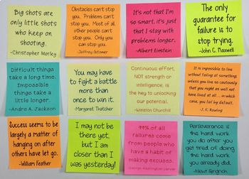 Perseverance Quotes | Perseverance Activity with Sticky ...