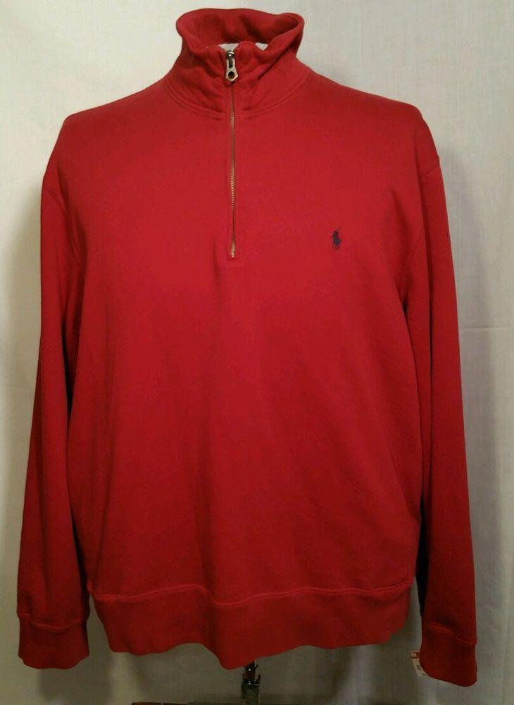 Polo Ralph Lauren half zip Pullover Sweater sweatshirt with pockets Men's  XL red #poloralphlauren #