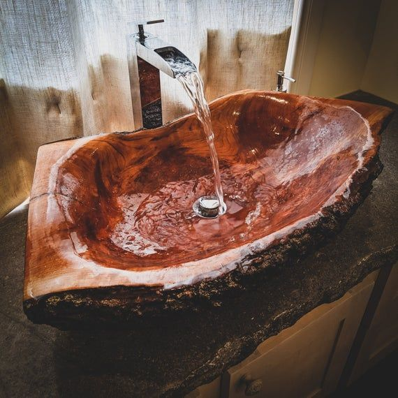 Reserved Large log wood vessel Sink Wooden Rustic chic bohemian decor Bathroom by TOUTANBWA