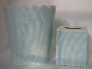 Blue and Cream Stripe Handpainted Wastebasket and Tissue Box Set - Other Colors Available!. Product in photo is from www.wellappointedhouse.com
