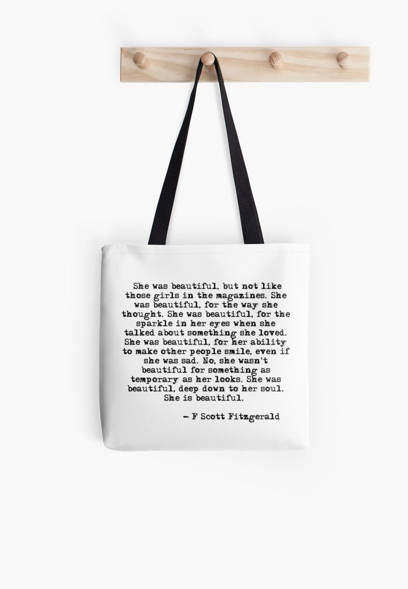 She Was Beautiful F Scott Fitzgerald Tote Bag Scott Fitzgerald Quotes Quote Tote Bag Fitzgerald Quotes